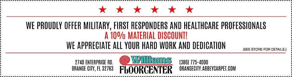We proudly offer military, first responders, and healthcare professionals a 10% material discount! We appreciate all your hard work and dedication. Williams Floorcenter in Orange City, Florida. See store for details.